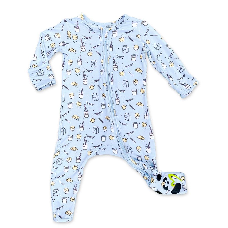Milk and Cookies Blue Bamboo Convertible Footie