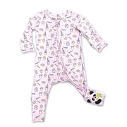 "Soft Baby Pajama Milk and Cookies Unisex Convertible Footie / Long Sleeve Onesie ""All in One-sie"" Cream Zipper with Cookies and Milk and Bellabu Bear Panda Logo in Super Soft Bamboo Fabric with a blend of stretch in Natural Blush Pink Double Zipper Easy Functional Eco-friendly Softest Best Baby Pajama Infant Newborn Toddler Kids Children PJ Romper Sleeper Top Rated Sleepwear"