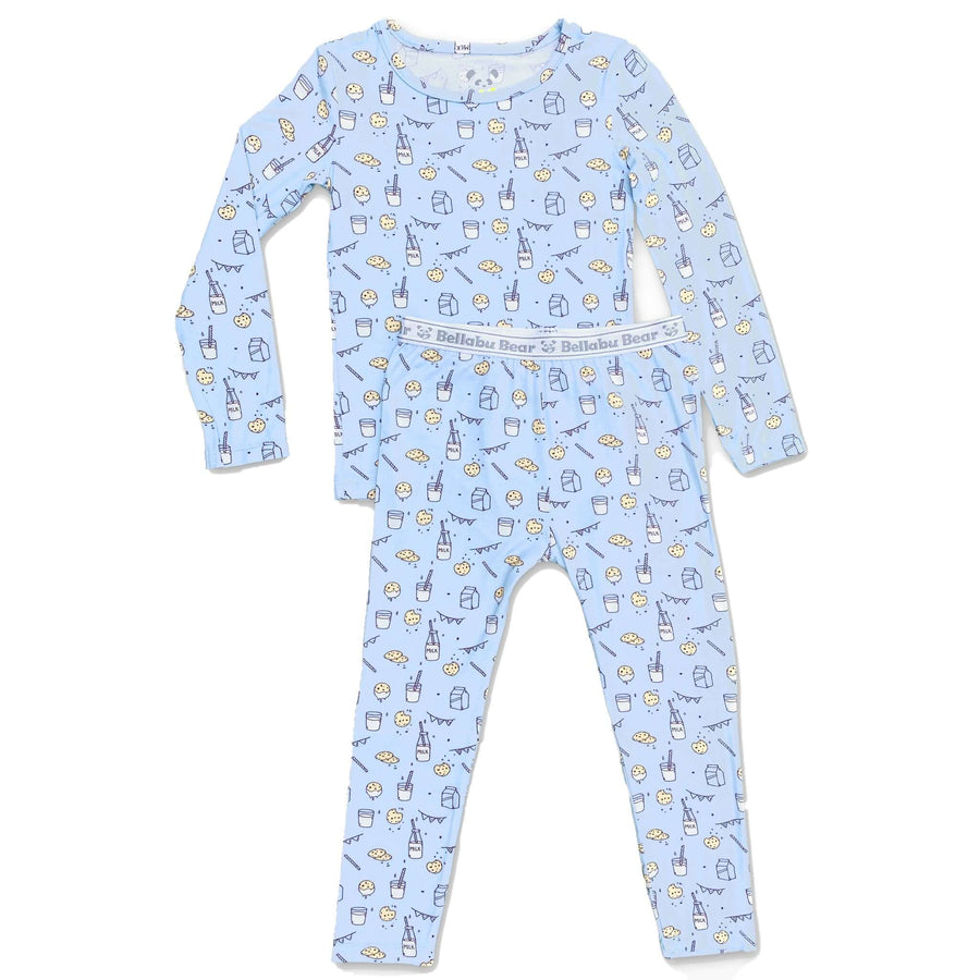 Milk and Cookies Blue Bamboo Two-Piece Set