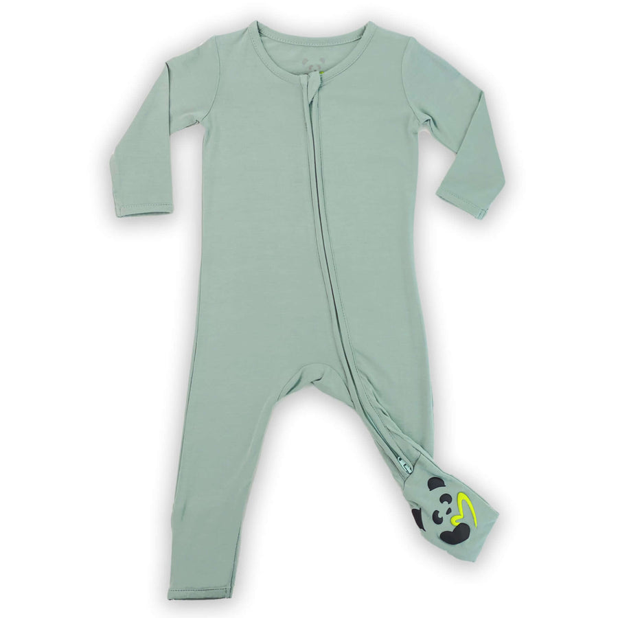 bamboo baby pajamas, misty green baby clothes, convertible footie pajama, bamboo baby romper, soft baby clothes, eczema baby clothes, soft sleepwear for baby, organic baby clothing