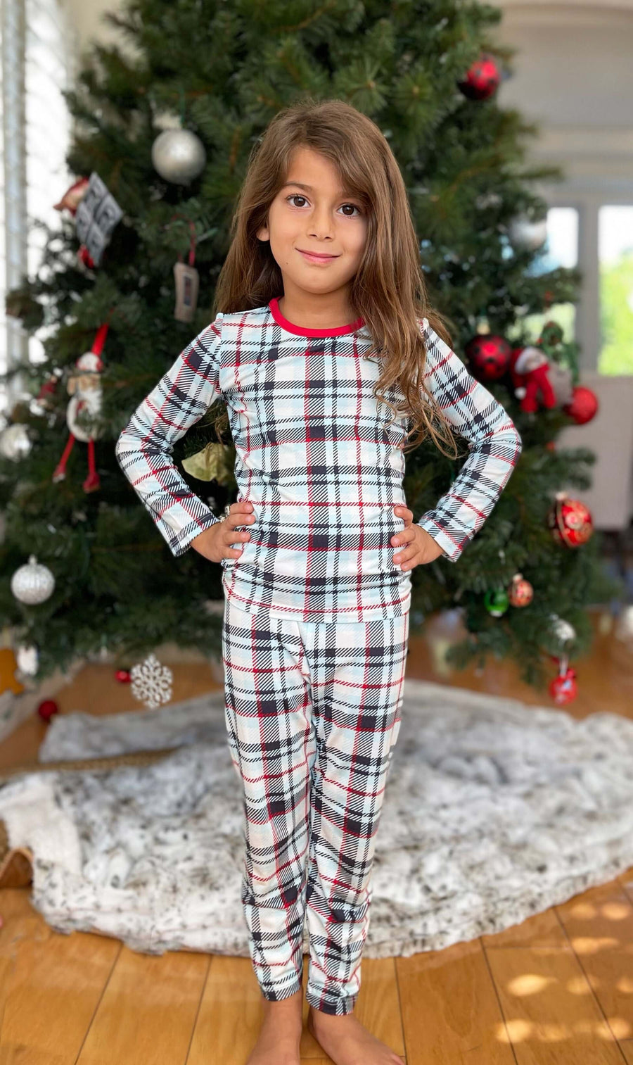 Limited Edition! Holiday Plaid Bamboo Kids Pajamas Two-Piece Set