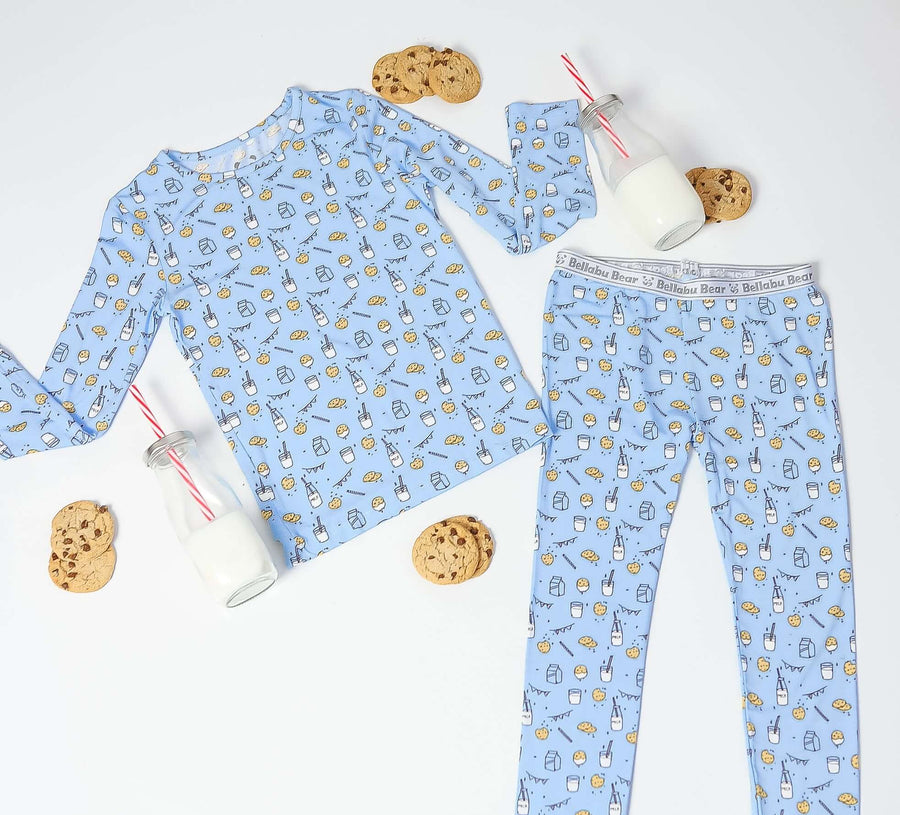 cookie party pajamas, milk and cookie pajamas, bamboo kids pajamas, bamboo baby clothes, bamboo baby pajamas, neutral baby clothes, eczema baby clothes, soft baby pajamas, baby shower gifts