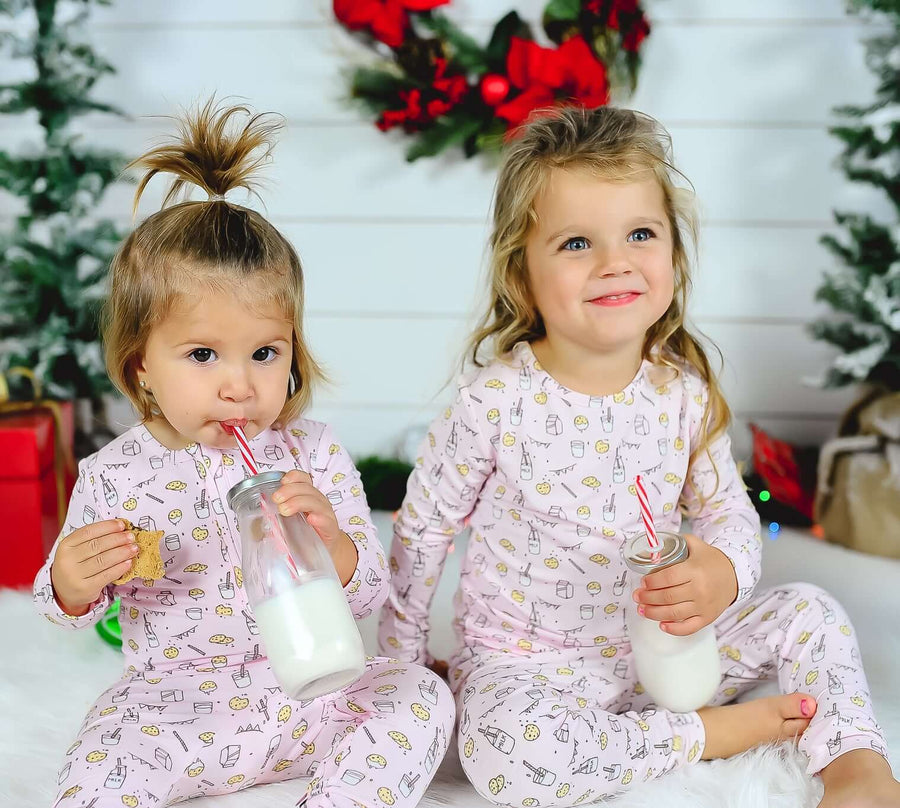 Milk and Cookies Pink Bamboo Kids Pajamas