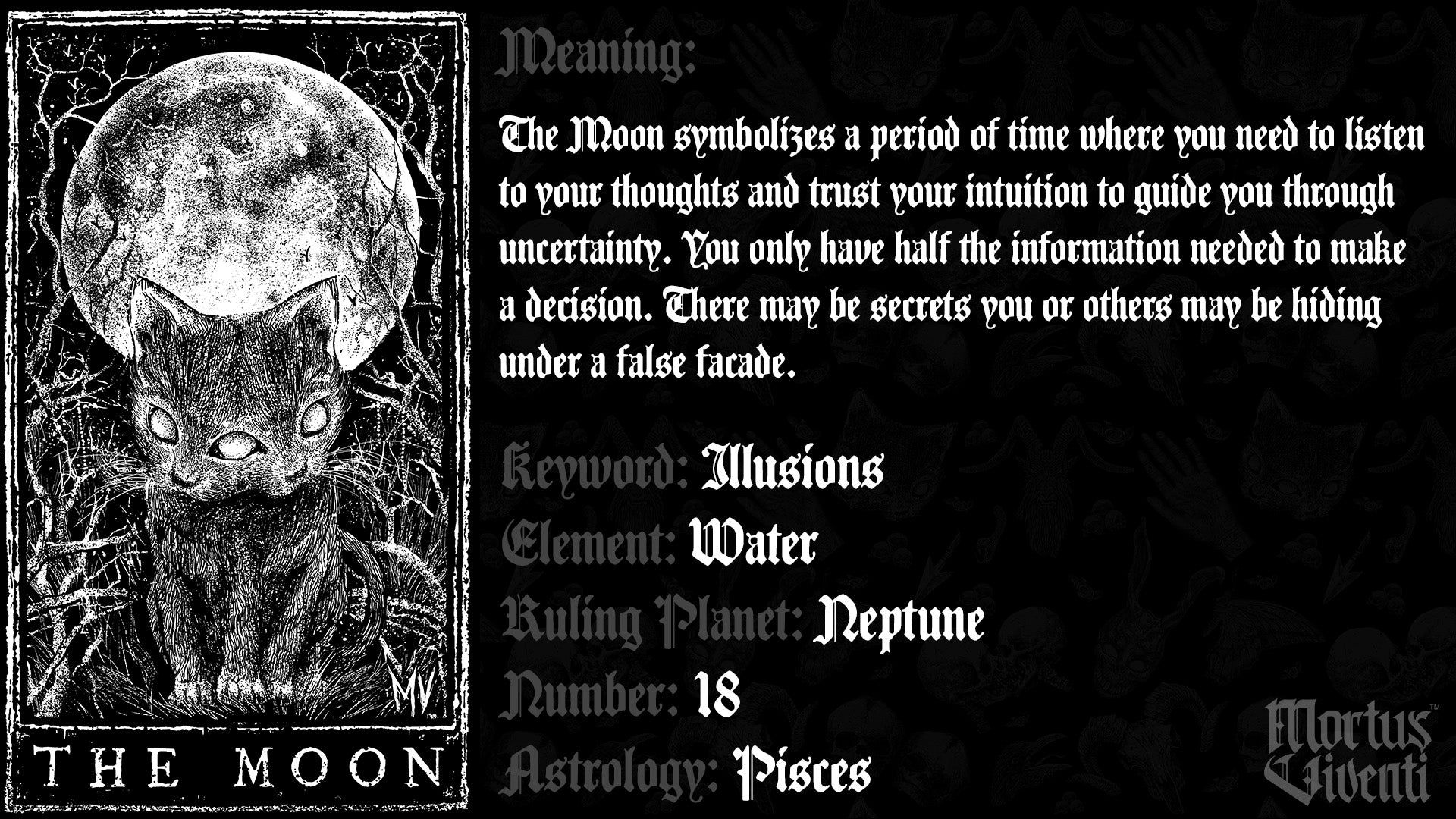 The Moon Tarot Card Meaning Mortus Viventi