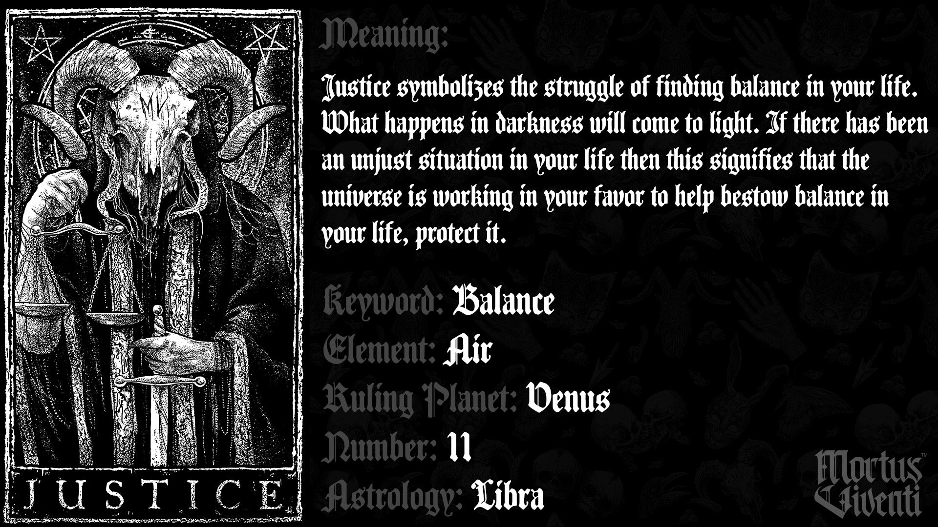 Justice Tarot Card Meaning Mortus Viventi