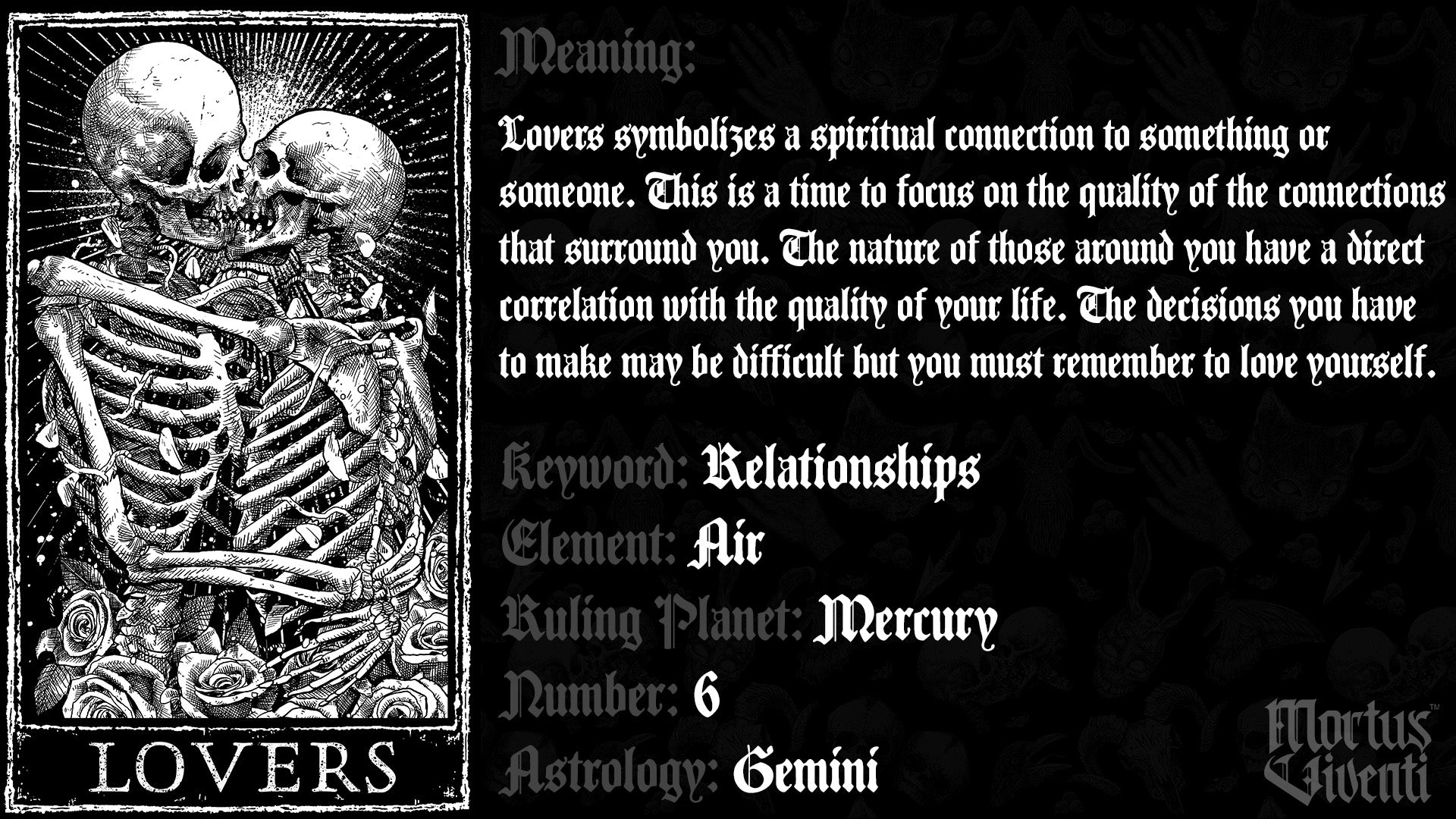 Lovers Tarot Card Meaning Mortus Viventi