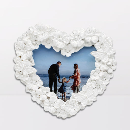 white Floral Photo Frame Heart shape