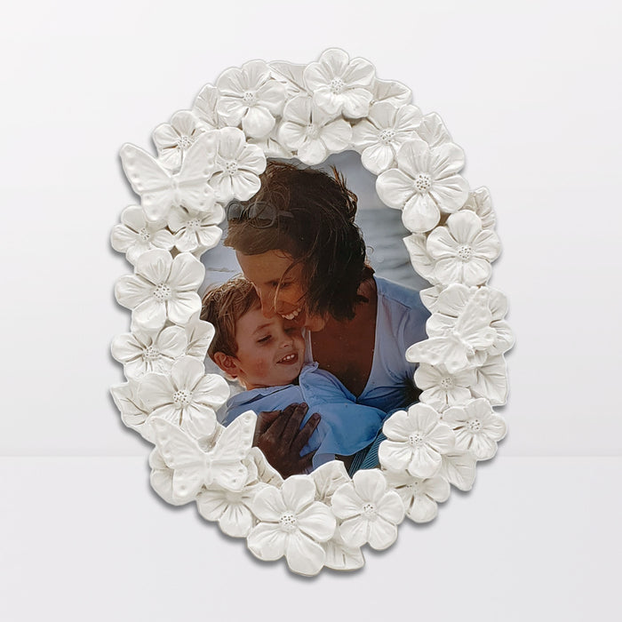 white Floral Photo Frame oval shape