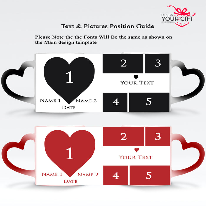 Mark the Date Photo Collage Names & Text black and red Magic Mugs heart handle set design template