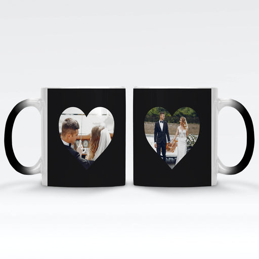 Personalised black magic mugs printed with 2 heart shaped photos