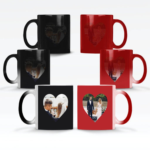 Personalised red and black magic mugs printed with 2 heart shaped photos that reveals when the mugs get hot