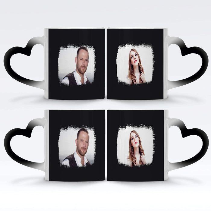2 black Personalised magic mugs set of 2 printed with landscape Brush-Mark photos mask for photos wrapped around each mugs