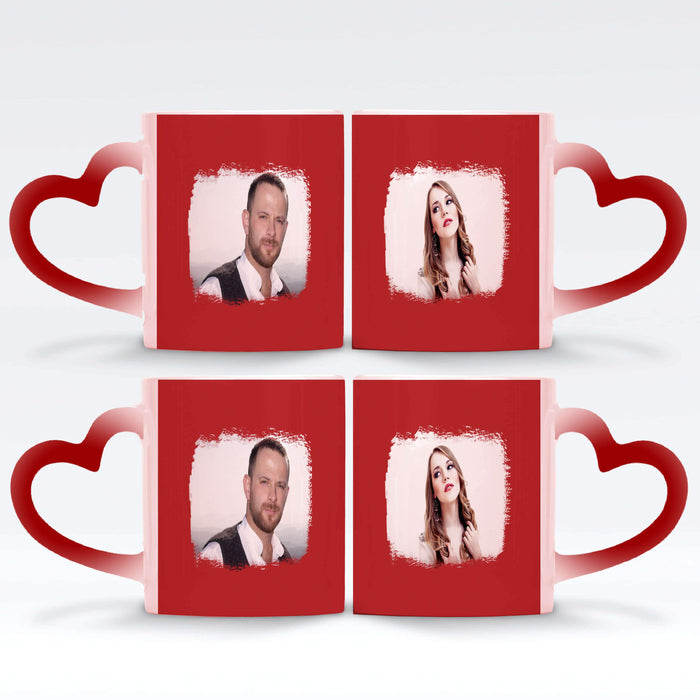 2 red Personalised magic mugs set of 2 printed with landscape Brush-Mark photos mask for photos wrapped around each mugs
