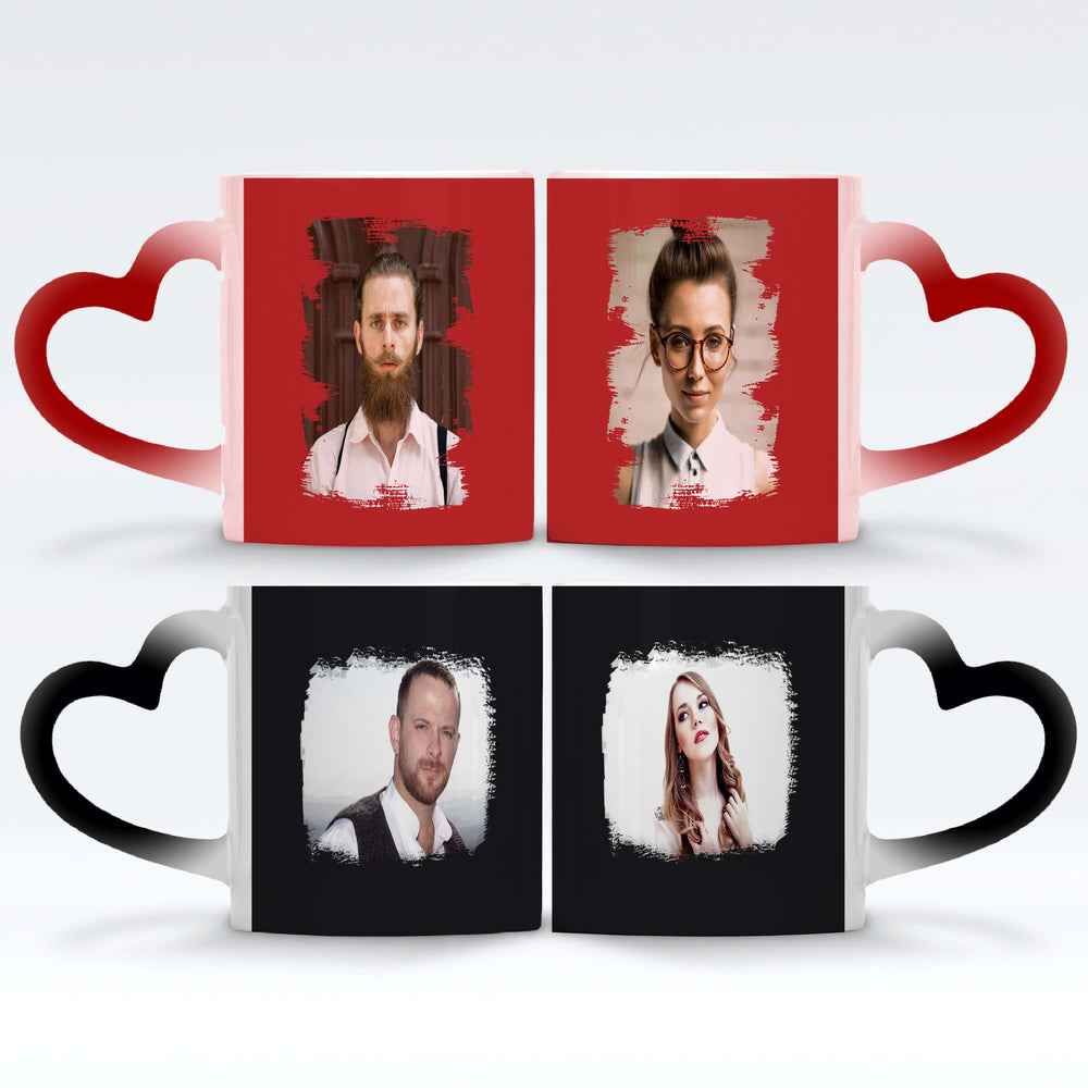Personalised magic mugs set of 2 printed with Brush-Mark photos mask for landscape and portraits photos wrapped around each mugs