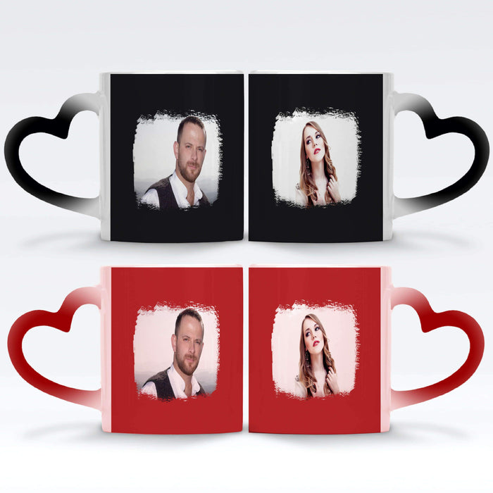 a black and a red Personalised magic mugs set of 2 printed with landscape Brush-Mark photos mask for photos wrapped around each mugs