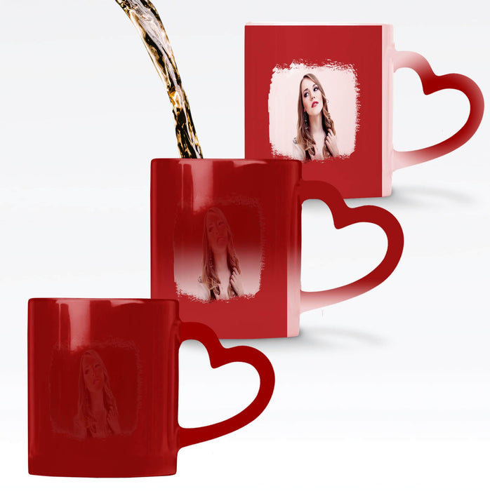 Personalised red Heat Sensitive Mug with the design revealing when the mug gets warm