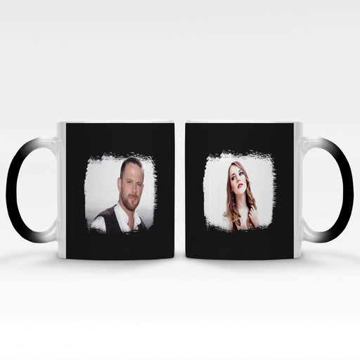 Personalised Black Magic Mug printed with 2 landscape photos with brush mark masks on each side of the mugs on black background