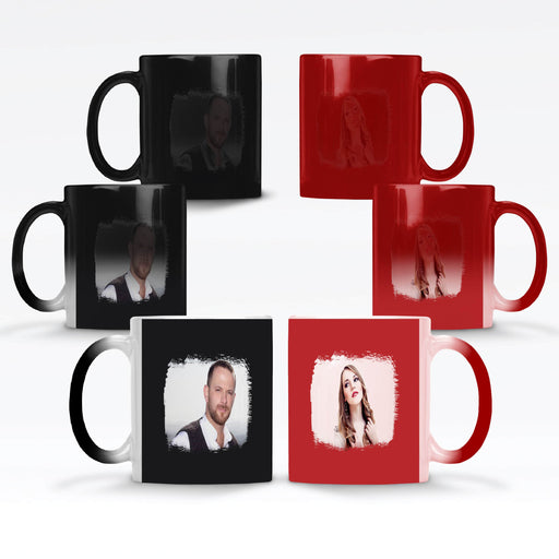 Personalised Red and Black Magic Mugs printed with 2 photos with brush mark masks on each side of the mugs