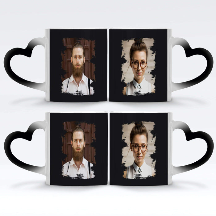 2 black Personalised magic mugs set of 2 printed with Portrait Brush-Mark photos mask for photos wrapped around each mugs