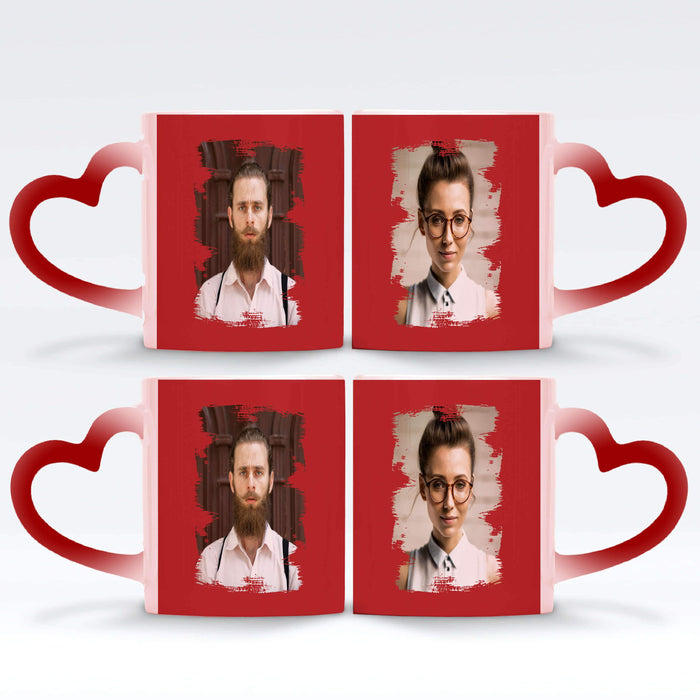 2 red Personalised magic mugs set of 2 printed with Portrait Brush-Mark photos mask for photos wrapped around each mugs