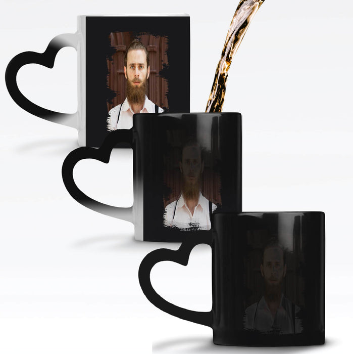 Personalised Black Heat Sensitive Mug with the design revealing when the mug gets warm