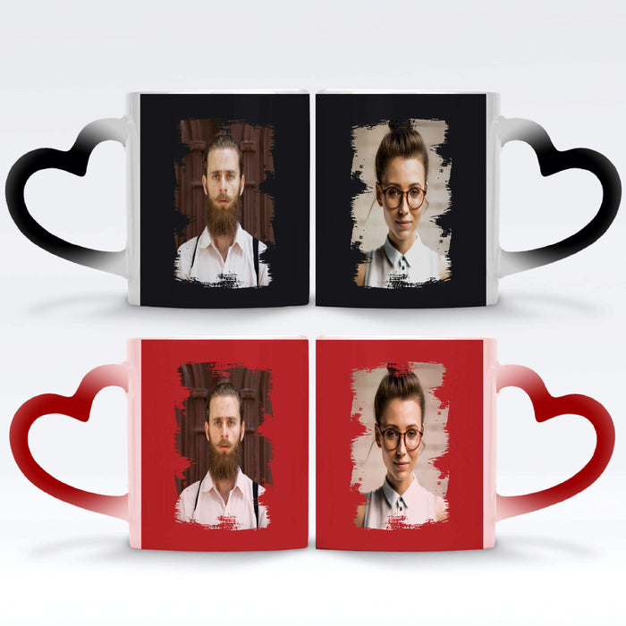a black and a red Personalised magic mugs set of 2 printed with Portrait Brush-Mark photos mask for photos wrapped around each mugs