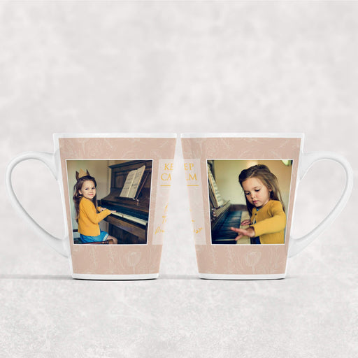 12 oz Photo Latte mug with seamless Beige Floral Background personalised with 2 photos and Text