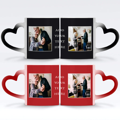 red and black Personalised magic mugs with heart handle set with 2 photos in a frame and text block in between