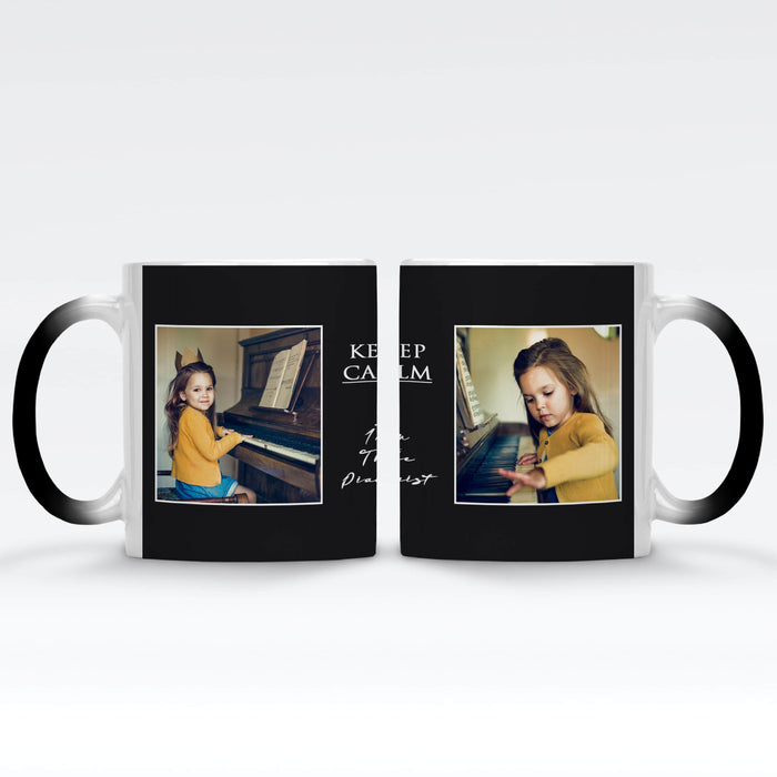 black Personalised magic mugs with 2 photos in a seamless frame and text block in between