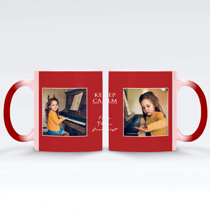 red Personalised magic mugs with 2 photos in a seamless frame and text block in between