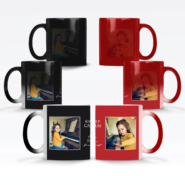 red and black Personalised magic mugs with 2 photos in a seamless frame and text block in between