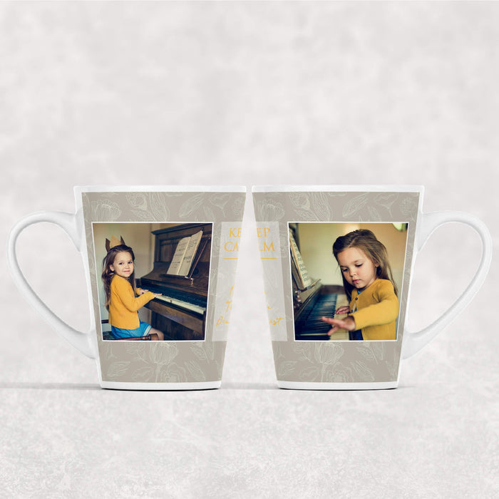 2 Photos & Text Mug - Floral Theme | Photo Latte Mug design-your-gift.