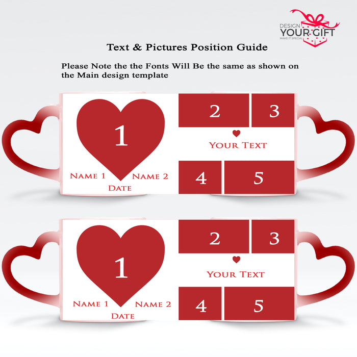 Mark the Date Photo Collage Names & Text 2 red Magic Mugs heart handle set design template