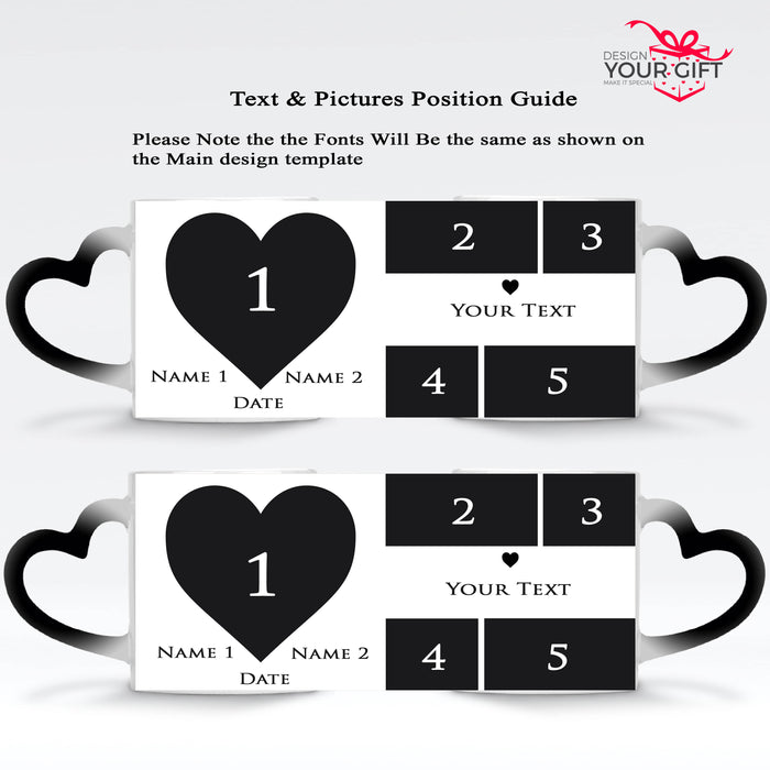 Mark the Date Photo Collage Names & Text 2 black Magic Mugs heart handle set design template