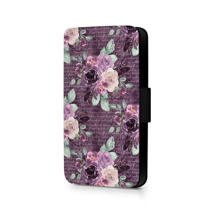 Flowers & Leaves Design | Galaxy S6 Wallet Phone Case - purple