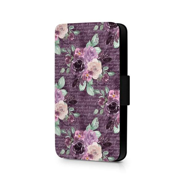 Flowers & Leaves Design | iPhone 8 Wallet Phone Case - purple