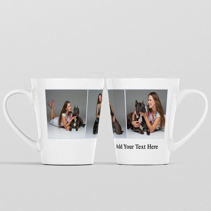 12 oz White Photo Latte Mug Personalised with 3 Photos and text wrapped around the mug