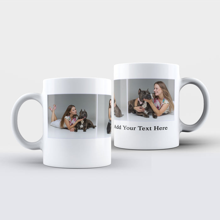 Personalised white Mug printed with 3 photo collage on black background and text under the collage