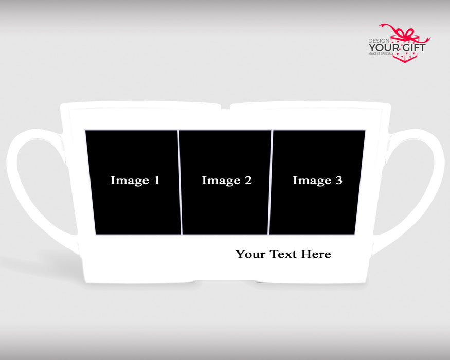 3 Photo Collage Mug and Text Photo Latte Mug design template for photo upload and adding text