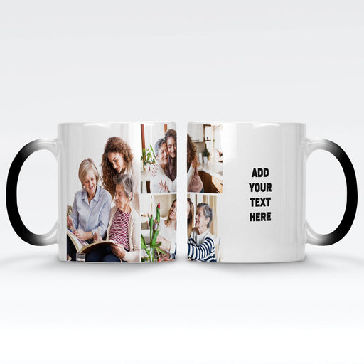 Personalised Black Magic Mug printed with 3 photo collage and text design wrapped around the mug