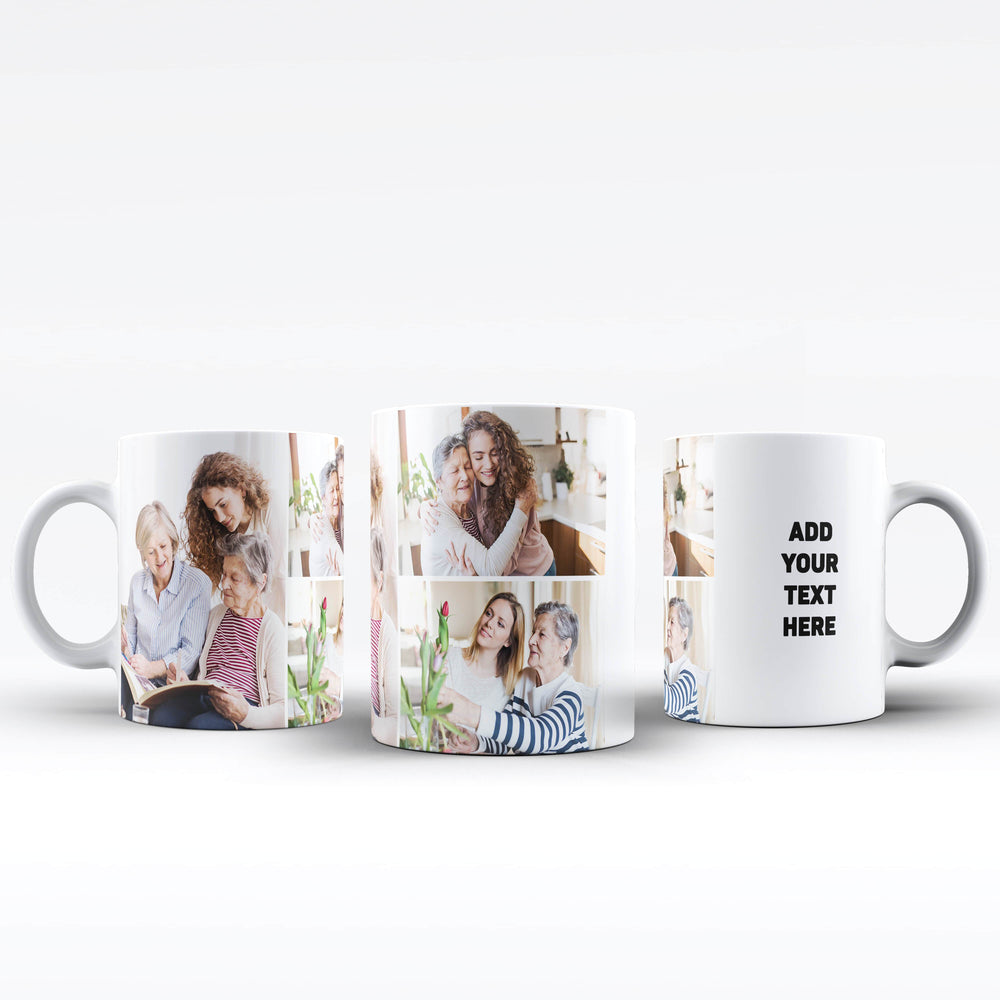 Personalised white Mug printed with 3 photo collage and text next to the collage