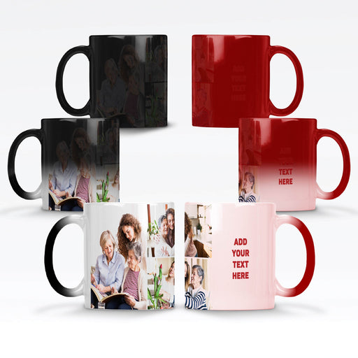 Personalised Black and Red Magic Mugs printed with 3 photo collage and text design wrapped around the mug