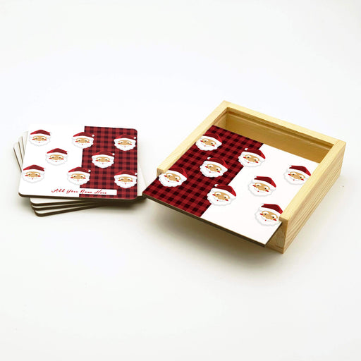 Personalised Coasters Set With Holder - Santa Design design-your-gift.