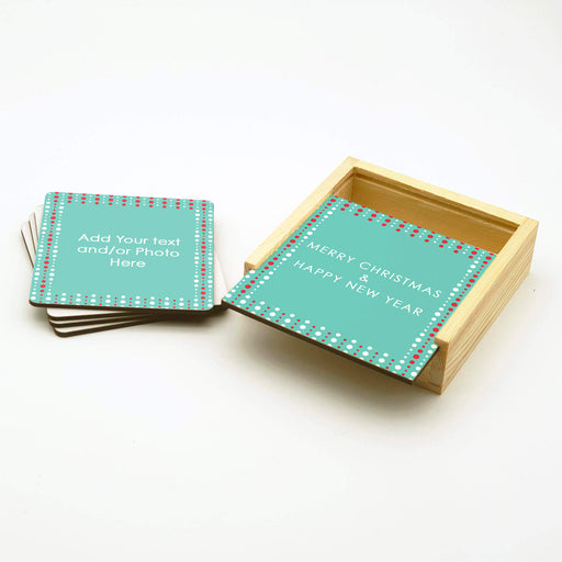 Personalised  coasters set with holder - Christmas Girlande design-your-gift.