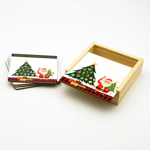 Personalised Coasters Set With Holder - Christmas Greetings design-your-gift.