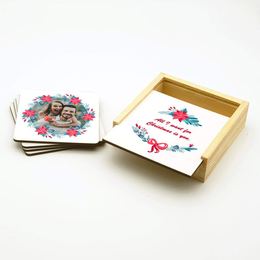 Personalised Coasters Set With Holder - Christmas Wreath design-your-gift.