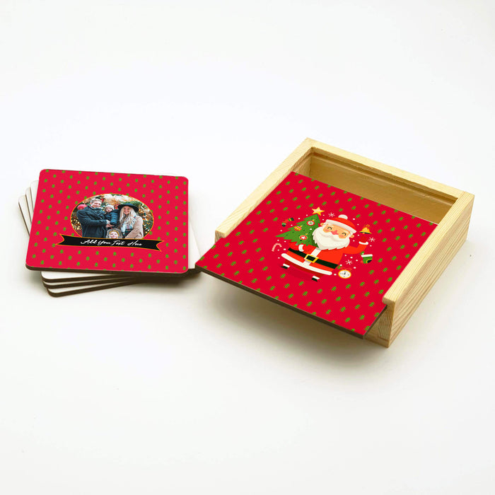 Personalised Coasters Set With Holder - Santa Has Arrived design-your-gift.