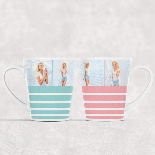12 oz White Latte mug with glitter stripes available in 4 colours personalised with 4 photos