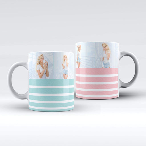 White mug with glitter stripes personalised with 4 photos