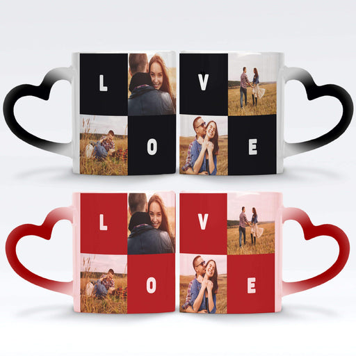 Personalised Black and Red Magic Mugs with heart handle set printed with 4 photo collage, and text blocks design wrapped around the mug
